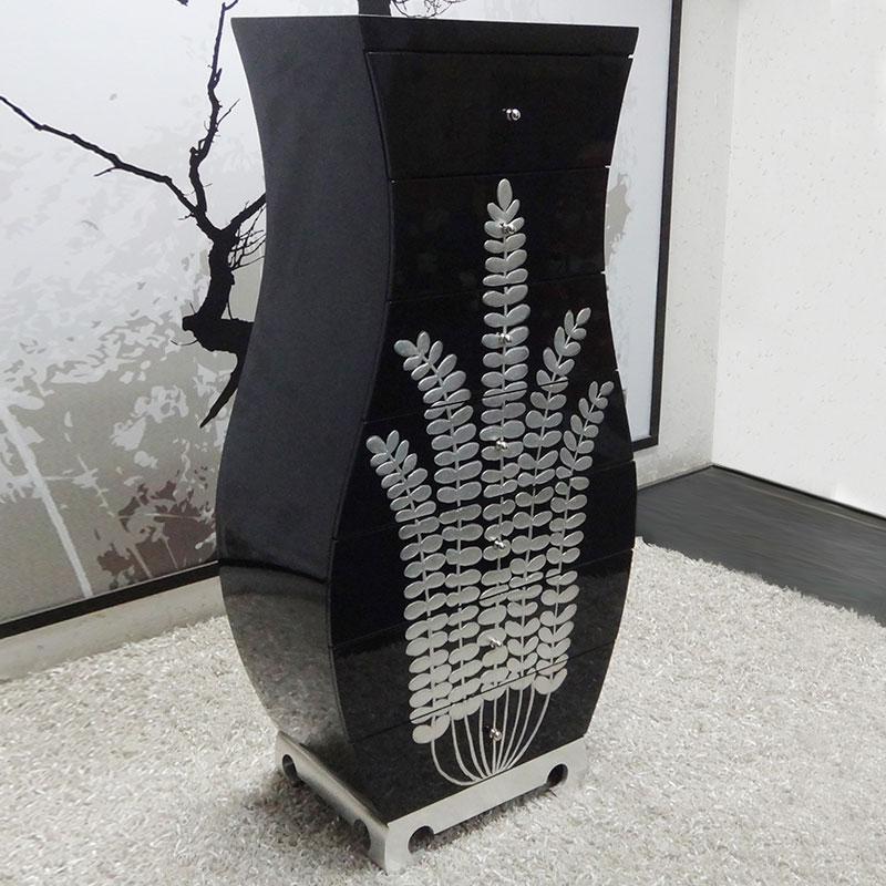 Đơn giản hiện đại ánh sáng màu đen đàn piano sơn may mắn ba chiều sự giàu có nghệ thuật cây bảy xô bình tủ lưu trữ tủ