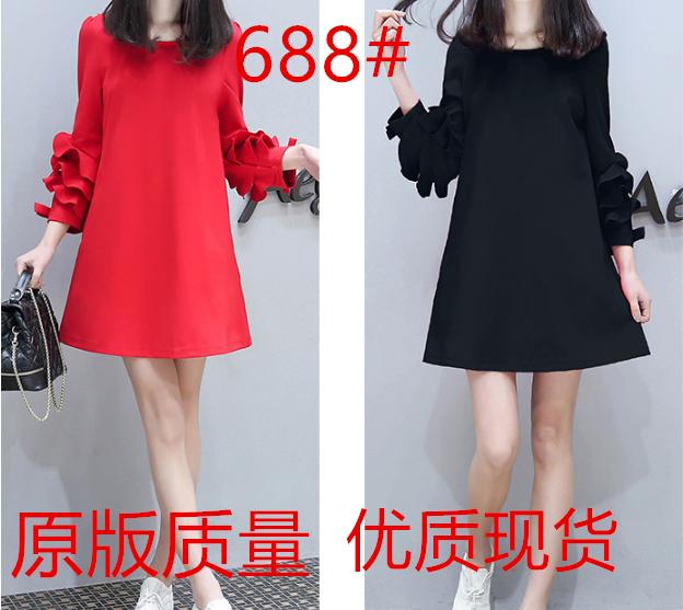 欧货春季女装新款红色中长款韩版连衣裙七分袖宽松显瘦A字裙