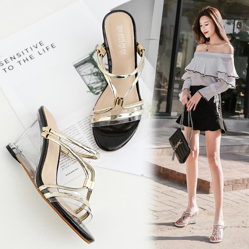 2018欧美透明水晶跟女凉鞋韩版时尚百搭坡跟一字带高跟外穿女拖鞋
