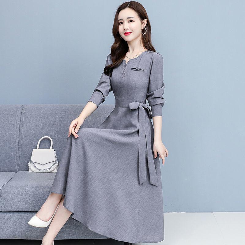 长袖时尚连衣裙女2021显瘦仿棉麻中长裙