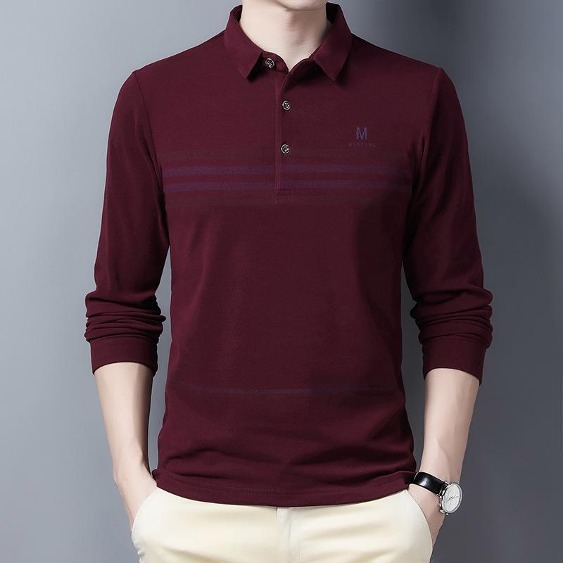 男士长袖翻领保罗POLO衫秋冬季条纹舒适T恤中青年修身百搭打底衫