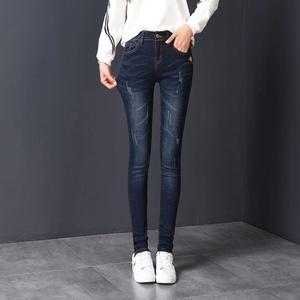【好质量】2019秋冬新款高腰牛仔裤女韩版紧身显瘦九分小脚长裤