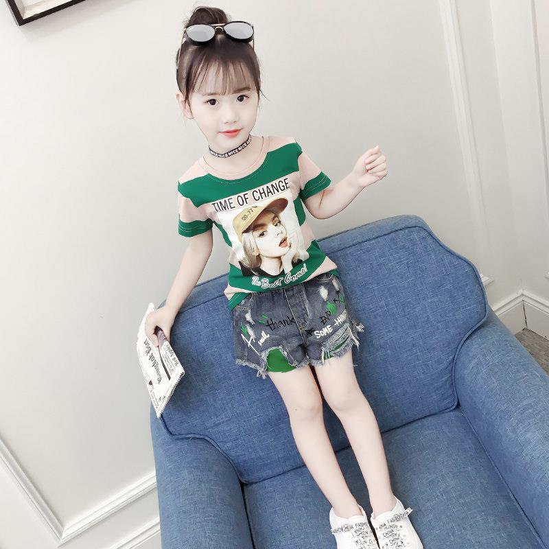 女童夏装运动套装短袖五分裤两件套女童装