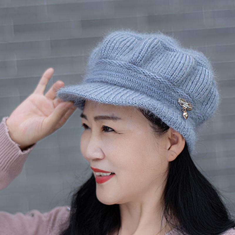 中老年人帽子女冬季女士帽子潮40岁新款百搭鸭舌帽女加厚保暖帽子24.9