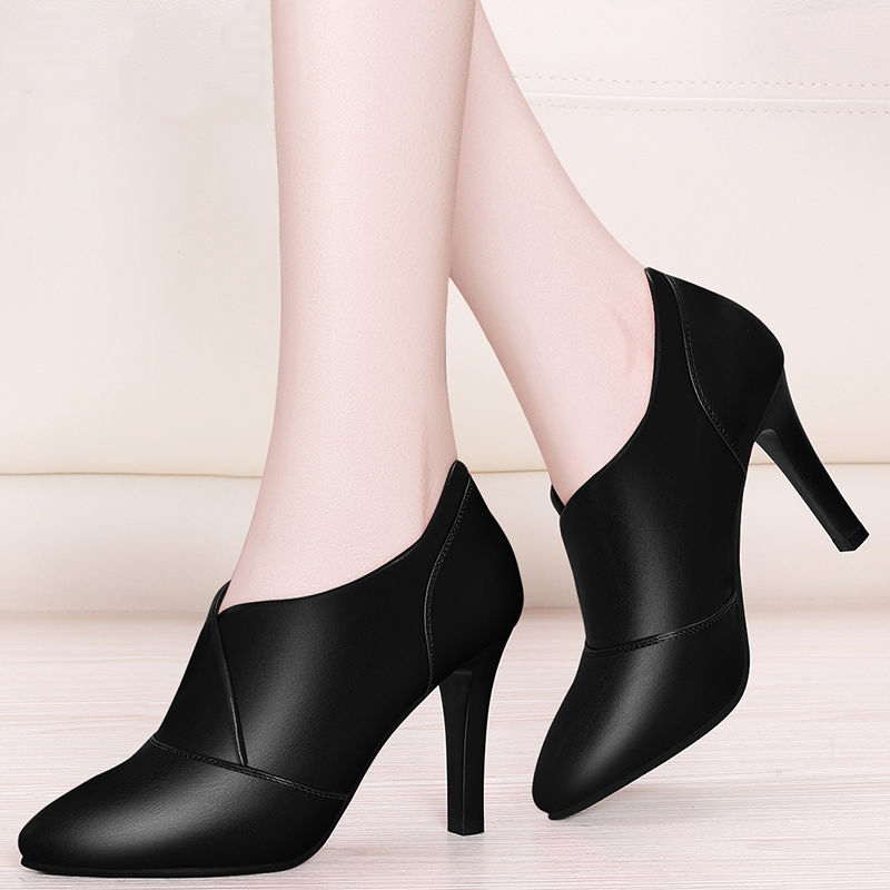 职业女鞋高跟鞋女皮鞋尖头女士单鞋工作鞋