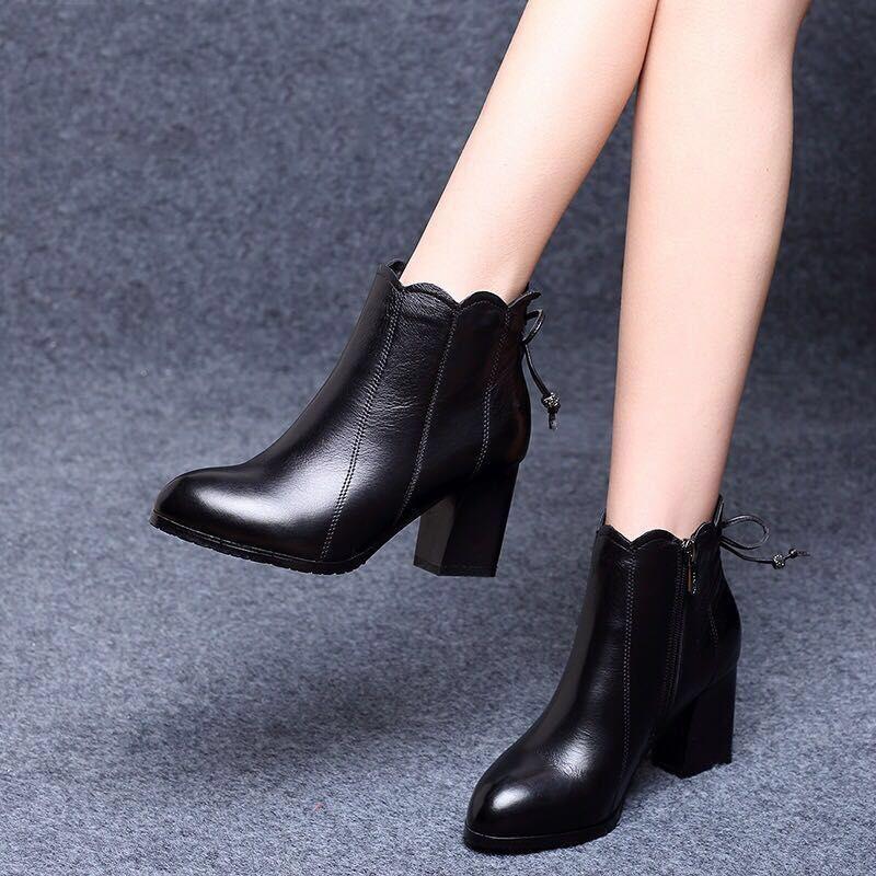 粗跟女靴子百搭短靴女高跟鞋韩版女鞋皮鞋潮