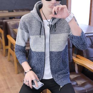 新款连帽毛衣开衫韩版修身男士针织衫