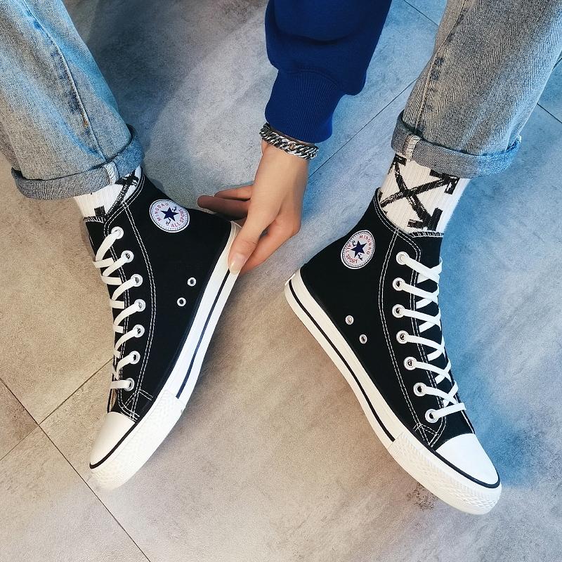 2021春季新款高帮帆布鞋男情侣鞋韩版学生布鞋透气潮流鞋子夏季