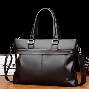 智尊袋鼠男士手提包真皮横款男包包商务牛皮单肩斜挎包休闲公文包