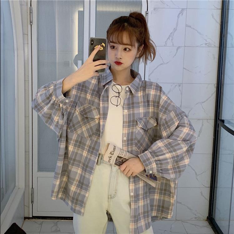 韩版宽松百搭慵懒风长袖衬衣外套潮