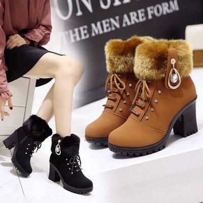 2019新款女士秋冬季马丁靴女英伦风高跟短靴粗跟雪地靴加绒女靴