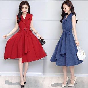 【长袖/无袖】2020年春夏季大码女装中长款A字连衣裙绑带显瘦裙子
