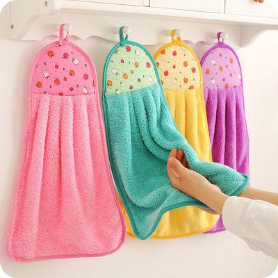 厨房擦手巾挂式超强吸水性好珊瑚绒卫生间加厚擦手布抹布清洁布