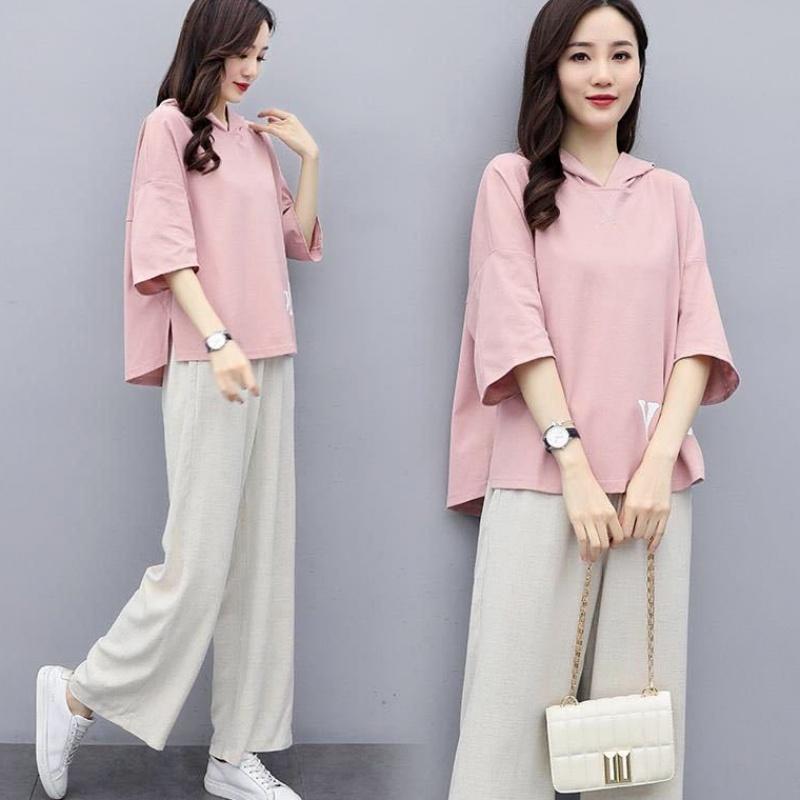 时尚套装韩版宽松阔腿裤休闲两件套