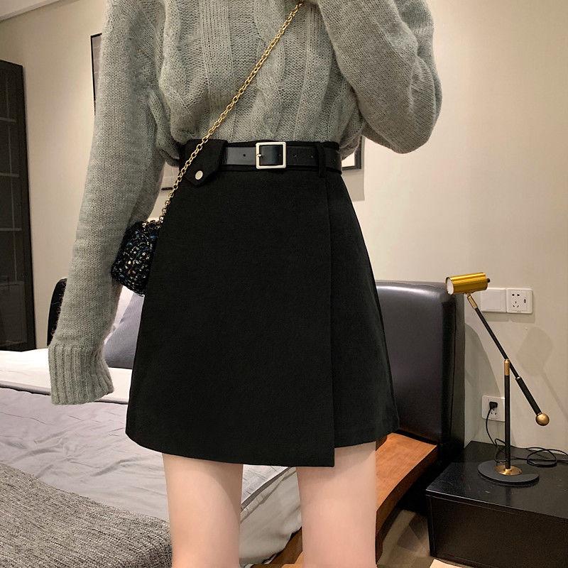新款高腰显瘦A字毛呢半身裙