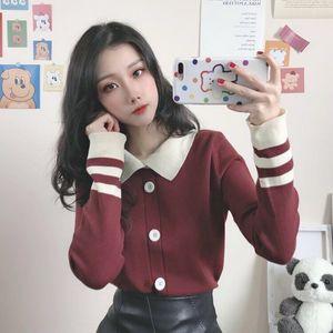 2020秋季韩版宽松娃娃领长袖套头针织衫女复古毛衣法式温柔风上衣