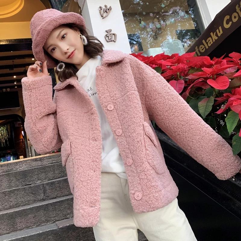 羊羔毛外套女加厚2020秋冬新款短款小香风仿皮毛一体羊羔毛上衣