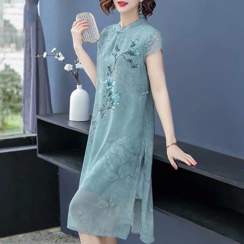 优质唐装洋气中年女中长款改装旗袍连衣裙