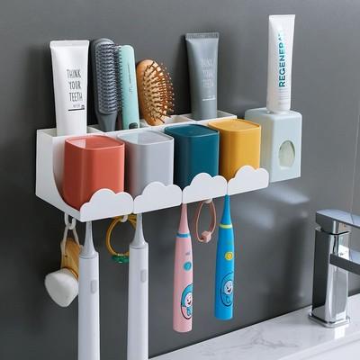壁挂免打孔牙刷置物架牙刷杯子套装漱口杯刷牙杯挤牙膏器牙刷架