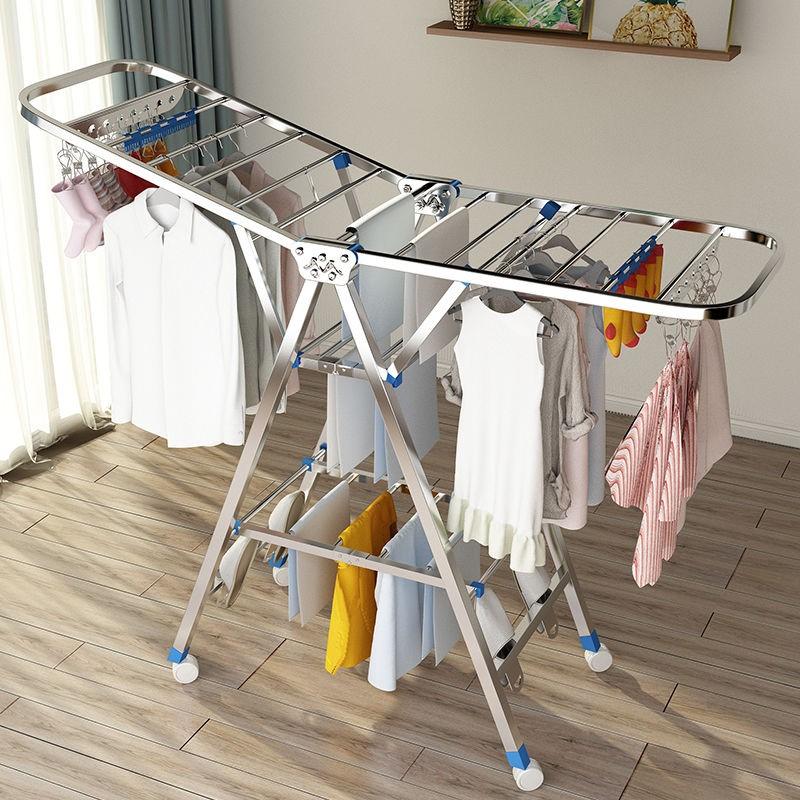 晾衣架落地折叠室内不�}锈钢家用阳台凉衣架杆婴儿翼型晾晒被子神器