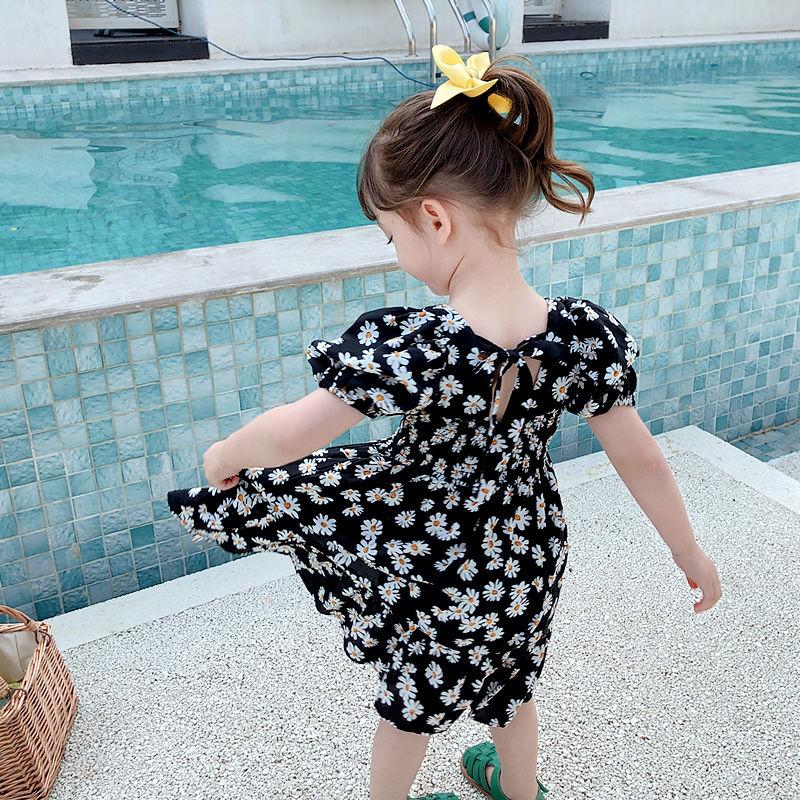 女童连衣裙夏雪纺裙子网红小雏菊小女孩碎花