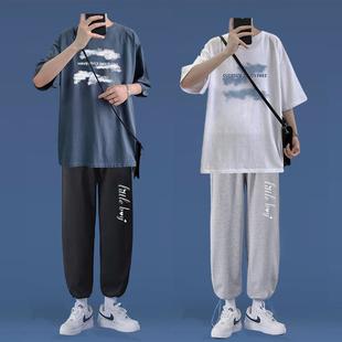 套装男2021夏季学生潮流五分袖运动服一套衣服男港风休闲宽松上衣
