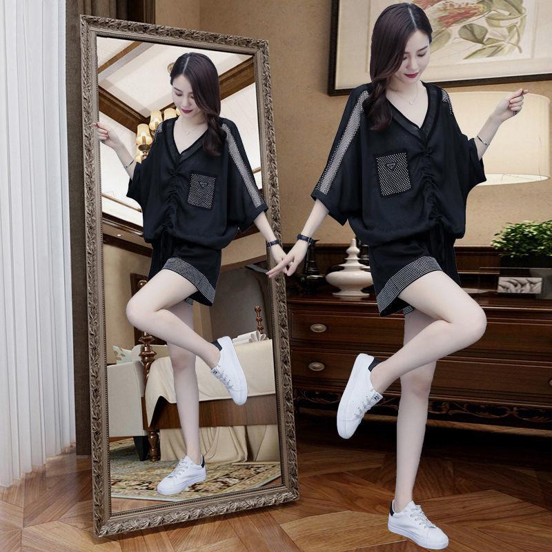 【套装】新款时尚大码胖卫衣短裤两件套