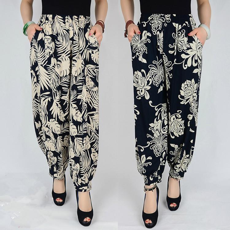 2018 mùa hè ăn mặc vuông nhảy cây ra hoa kích thước lớn rộng chân quốc gia phong cách giản dị mẹ váy cao eo đa- hoa loại chín quần