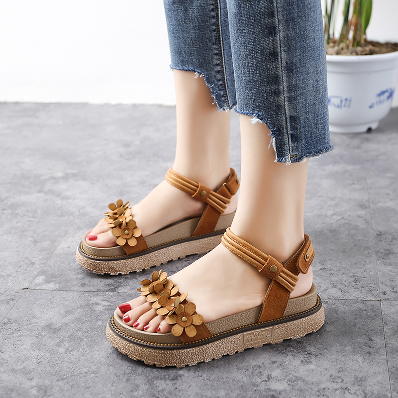 Summer Roman Shoes 10 Girls Korean Version Girls 13 Junior Middle School Students 15-year-old Flat-soled Leather Sandals 12 Tides