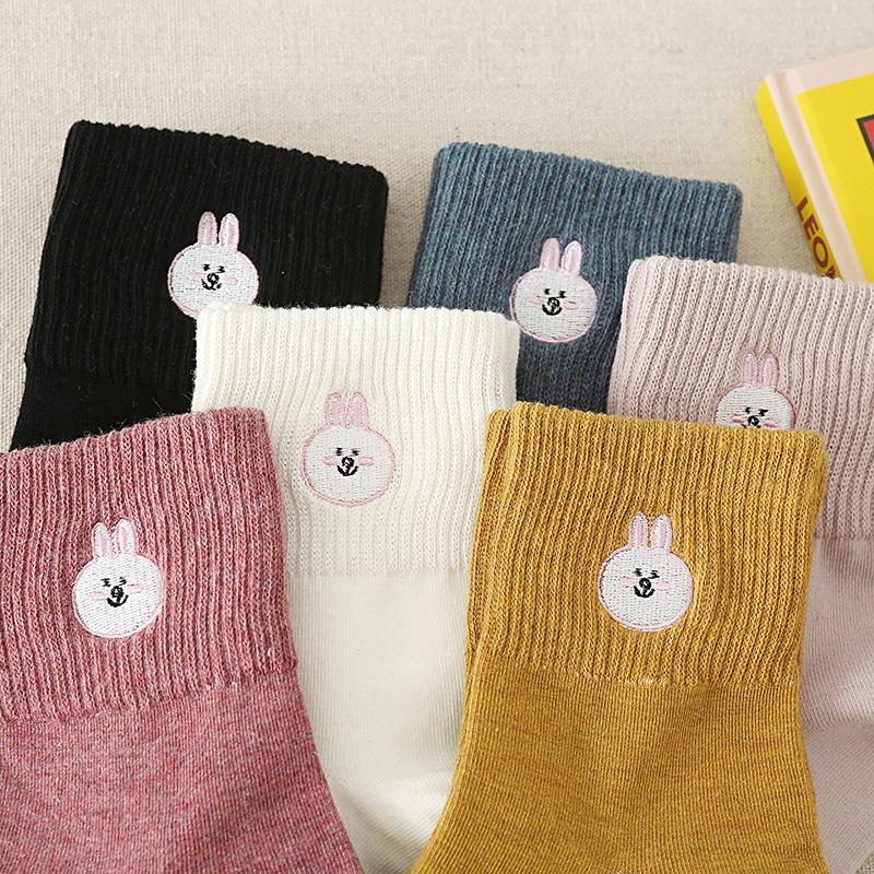 Vớ nữ ống vớ cotton mùa thu và mùa đông gấu bông vớ thủy triều Hàn Quốc phong cách dễ thương vớ Nhật Bản - Vớ sợi tre