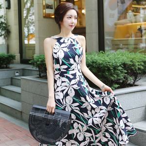 7738#2018夏装新款韩版女装气质?#20063;?#25910;腰印花时尚大摆长裙连衣裙