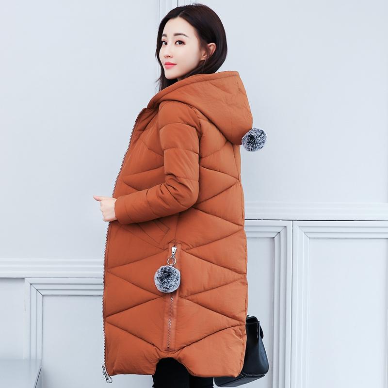 实拍2018冬季新款韩版宽松加厚连帽羽绒服女装中长款棉服外套