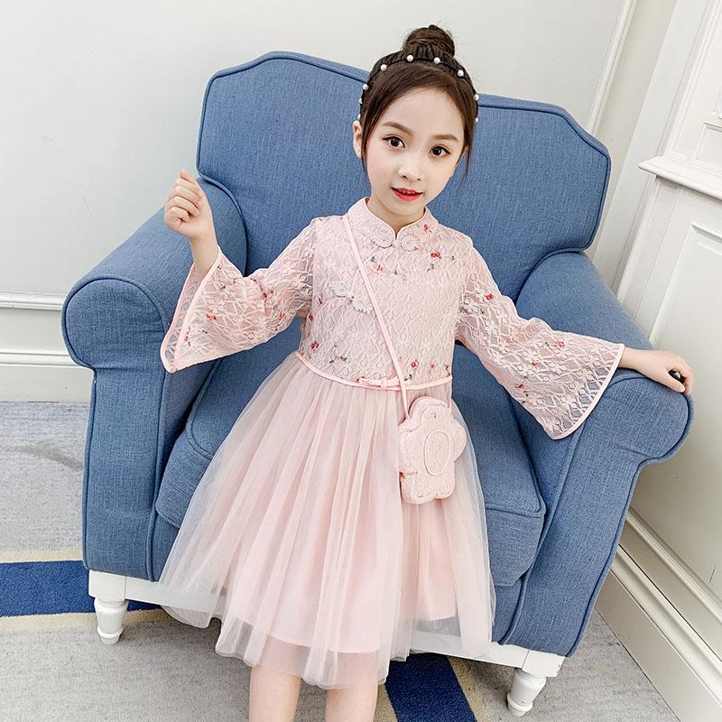 刺绣汉服2020春夏款女童连衣裙复古公主裙春夏可爱儿童时尚仙女裙