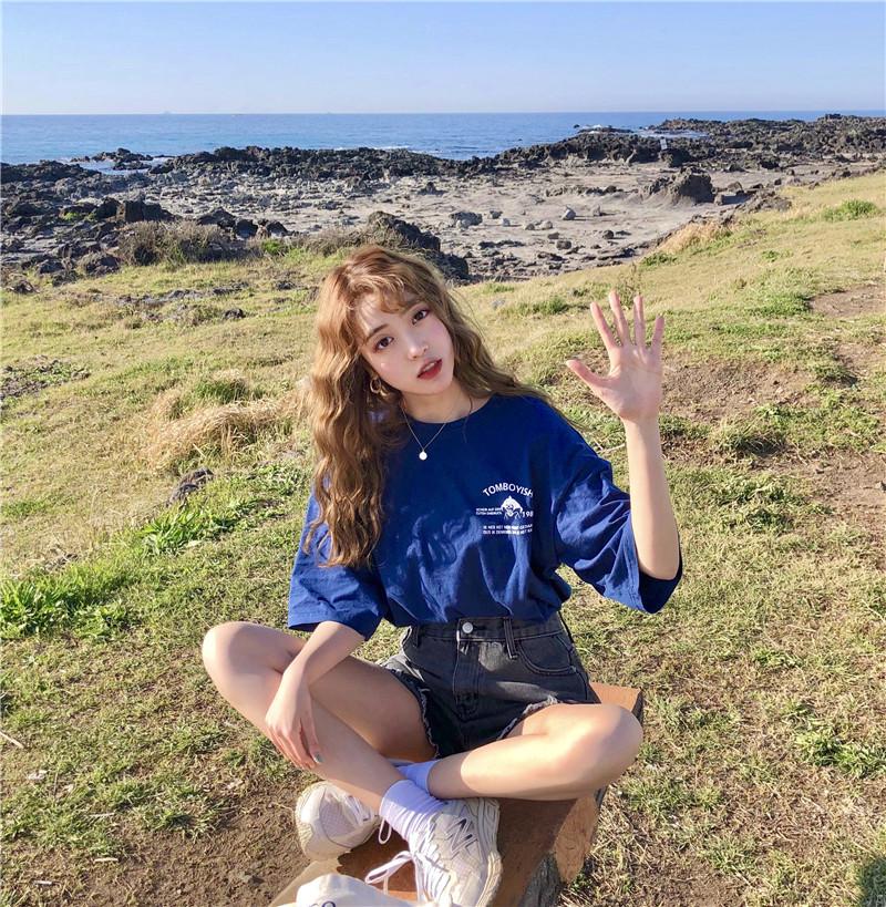 2018 mùa hè Hàn Quốc cô gái giản dị bông ngắn tay áo T-Shirt có thể mặc bên ngoài quần áo đồ ngủ nữ sinh thủy triều