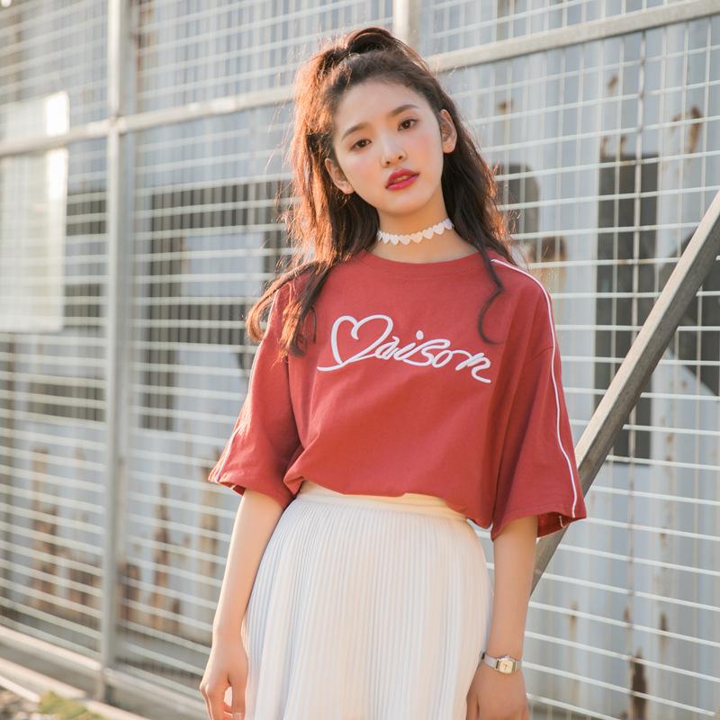 2018纤嫚夏季新款韩版甜美小清新字母绣花短袖T恤上衣红色t包邮夏