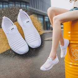 夏季网鞋女2018新款小白网面透气一脚蹬女鞋百搭休闲鞋女式帆布鞋