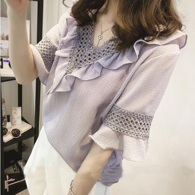 Ins với cùng một đoạn lỏng ngắn tay t-shirt nữ mùa hè Hàn Quốc phiên bản của ulzzang sinh viên hoang dã ren voan áo sơ mi V-Cổ áo sơ mi Áo sơ mi chiffon ren
