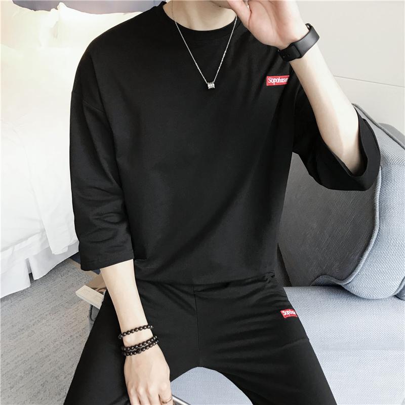 2018春夏季港风男士短袖T恤套装一套学生潮流休闲体恤半袖TZ70P65