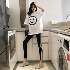 官方图#575 时尚套装女宽松大笑脸短袖T恤+外穿小脚打底裤韩版