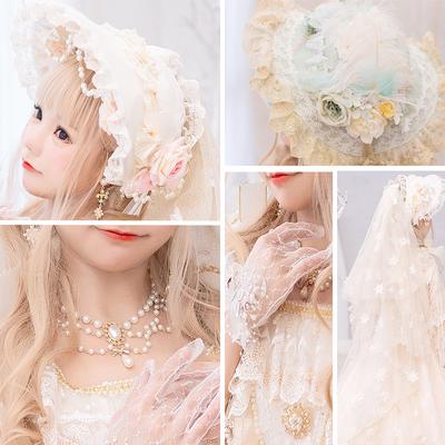 taobao agent Original small objects hand-made lolita headdress pearl tea party wedding bnt BB cap Bonnet flat cap spot
