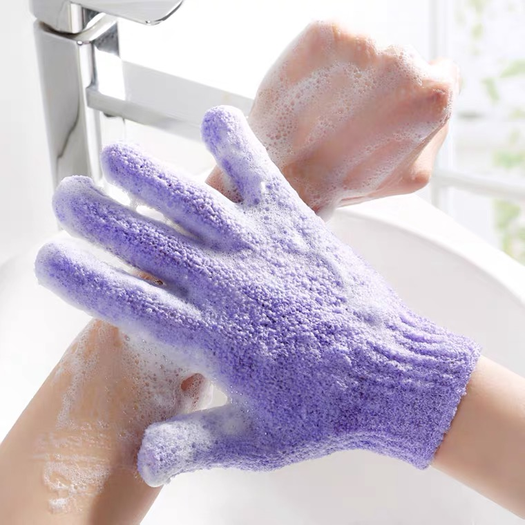 磨砂洗澡沐浴球搓澡巾手套五指粗砂搓后背神器强力去灰∏泥起泡浴花