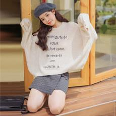 实拍768#冬季新款 韩国chic秋冬上衣慵懒风宽松套头印花针织毛衣1