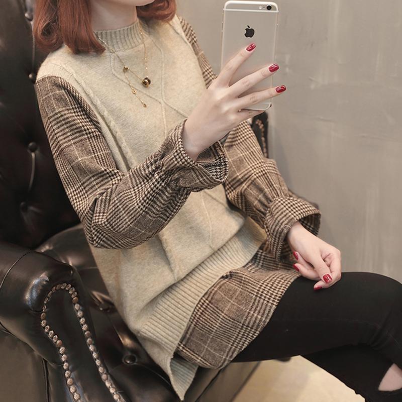 衬衫毛衣宽松中长款春装2019新款女装假两件套韩版打底套头针织衫
