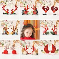 Рождественские Брелки Шпилька детские Рождественский олень рога шпилька головной убор женский симпатичный лось клип на девочку Аксессуары для волос