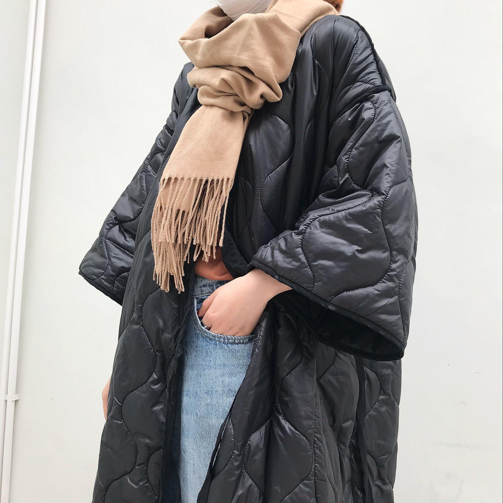 Gió tối mùa đông Nhật Bản kimono dây đai áo choàng lỏng áo dài bông áo khoác áo khoác nữ