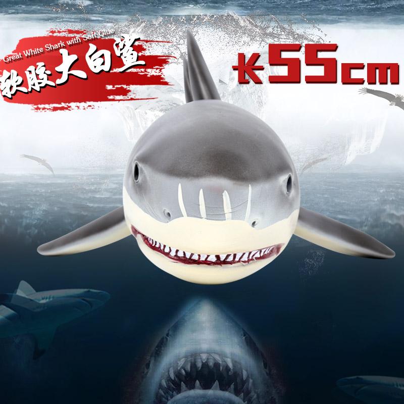Trẻ em quá khổ mô phỏng cao su mềm sinh vật biển động vật lớn cá mập đồ chơi lớn cá mập trắng ăn cá mập mô hình cá mập megatooth - Đồ chơi gia đình