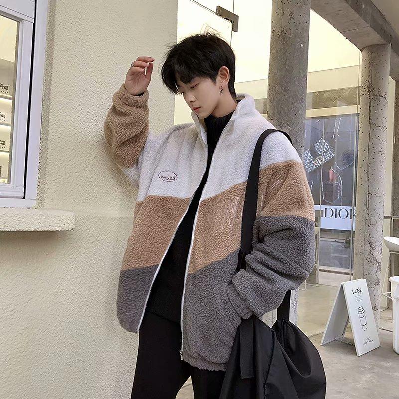 Áo khoác cotton cotton mùa đông phong cách Hong Kong cộng với áo khoác da cừu dày nhung xu hướng phiên bản Hàn Quốc áo khoác cotton sang trọng dành cho cặp đôi - Trang phục Couple