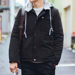 冬季男装保暖加厚棉服男士青年学生可卸帽口袋简约日系棉衣男外套