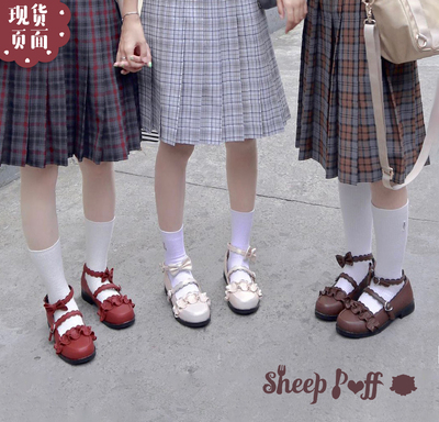 taobao agent 【Spot goods】 Genuine upgraded version of sheep puffs original Lolita Japanese lace round head student single shoes women