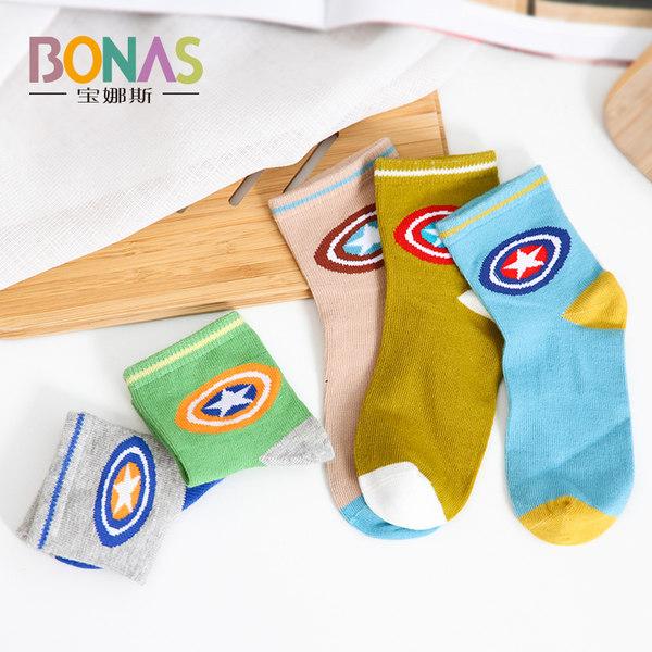 宝娜斯 春夏薄款 网眼儿童棉袜/船袜 5双 优惠券折后¥13.8包邮(¥23.8-10)